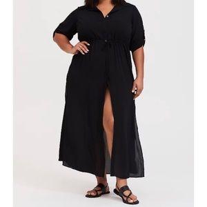 🆕 Black Maxi Shirt Dress Swim Cover-up Kimono 3X